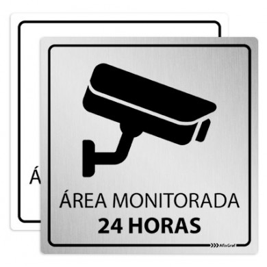 Placa Área Monitorada 24 HRS