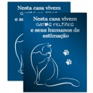 Placa Decorativa Gatos Felizes